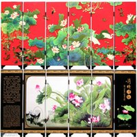 Wholesale hinese Vintage Red Background Lotus Wooden Lacquer Six Pieces Folding Screen