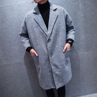Wholesale Paris Fashion Week catwalk models big gentleman Gray thicker version of the long section woolen coat jacket M