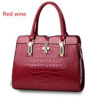 Wholesale Female bag new high grade bright patent leather crocodile pattern shoulder portable handbag Ms European and American style atmosphere