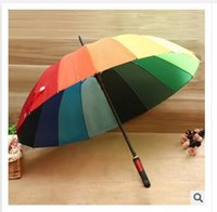 Wholesale Rainbow Umbrella High Quality K Golf Umbrella Automatic Long handle Umbrella Sunny Rainy Pongee Rainbow Adult Color Umbrella Dhgate