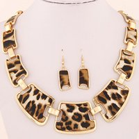 big leather earrings - Fashion Women collar big Brand Geometric Leopard grain leather Vintage Necklaces Pendant Earrings jewelry set Statement