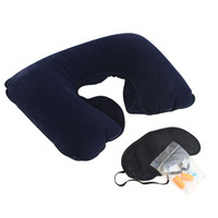 travel pillow - New outdoor camping car in1 Travel Set Inflatable Neck Air Cushion Pillow eye mask Ear Plug Comfortable business trip