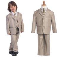 Wholesale Fashion Three Button Boy dresses New Design Kid s Tuxedos Peak Lapel Top Quality Children Suit Coat For All Boys Jacket Pants Tie Vest