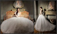 Wholesale 2015 Collection Ball Gown Wedding Dresses Gorgeous Appliques Scoop Natural Wasit Lace Up Back Chapel Train Wedding Bridal Ball Gown Dresses