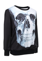 Cheap 2015 New Spring Autumn Women Men Unisex Punk 3D Printed Skull Print Sweatshirt Long Sleeve Pullovers Hoodies Lady Black Top Clothing S25240