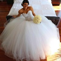 beach beauty pictures - Beauty White Gown Sweetheart Long Wedding Dresses vestido de noiva Lace Sexy Tulle Bridal Dress A Line Custom Ivory Tulle Bridal Gowns With