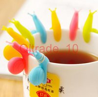 Wholesale 500PCS HHA330 Fashion Hot Random Color Cute Snail Shape Silicone Tea Bag Holder Cup Mug Candy Colors Gift Set