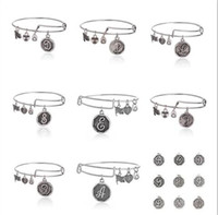alphabet initial - 2015 Cheap expandable antique silver Jewerly metal alloy Initial alphabet charms Alex And Ani bracelets trendy metallic bangles EH248