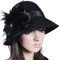 Wholesale Elegant Ladies Church Hats Feather Decoration Soft Stingy Brim Hats For Party Formal Wool Fashion Hats Sale Online S025
