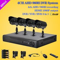 Wholesale 4CH Full AHD H D1 Real Time CCTV HDMI P DVR NVR kit with TVL outdoor waterproof Security Camera video System channel