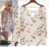 Cheap 2014 New designer tops quality brand bird printed chiffon blouse V-neck long sleeves vintage dudalina shirt W4357