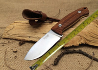 Wholesale LionSteel tactical knife HRC outdoor survival knives Cr17Mov camping hunting tools straight knife wood handle