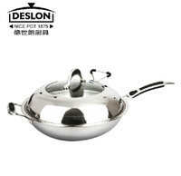 Wholesale German Deslon stainless steel wok non stick cookware Kitchen Wok smokeless pan cover glass without coating