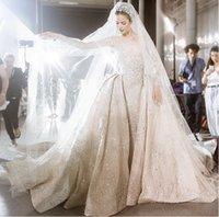 Wholesale Zuhair Murad Lace Applique Bead Crew Long Sleeve Wedding Dresses Sheer Illusion Neck Sexy Bridal Gowns Zuahir Murad Vestidos Plus Size
