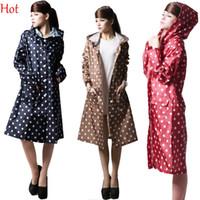 Wholesale Fashion Women Rain Coat Long Slim New Hot Dots Camping Long Parka Clothing Windproof Rain Wear Jacket Hooded Raincoats Quality SV011075