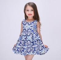 art line cotton - 2016 Spring Summer China Blue Art Dresses Girls Princess Dress Satin Kids Tutu Dress Ball Dress K6919