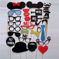 Wholesale N633 DIY Photo Booth Prop Wedding Birthday Party On A Stick Decorations Stick Wedding Party Favor Mask Photo Booth Props