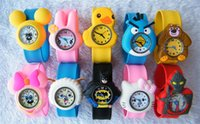 automatic alarm watches - Cute Cartoon Style Mix Order Children Kids Teens Silicone Wristwatch Spiderman Minions Batman Car Birds Bear Children Slap Watch Gift