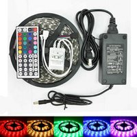 Wholesale 16 ft M High Bright Waterproof Leds SMD5050 RGB kit with DIY Led Strip Light key IR Remote Controller DC12V A Power Adapter Supply