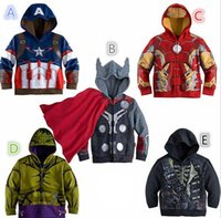 Wholesale Children Hoodies New Baby Boys Captain America Hoodies Jacket Avengers Hulk thor iron man Superhero cosplay Kids hoodie jacket