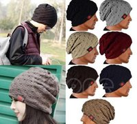 Wholesale New Fashion Women Ladies Unisex Winter Knit Winter Hat Beanie Reversible Skull Chunky Baggy Warm Cap