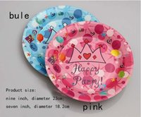 Wholesale paper fruit tray and plate blue and pink Imperial crown for party Catering Disposable plate fruit plate