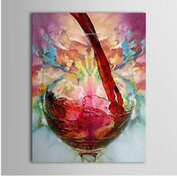 Wholesale 20 inch Framed Canvas Oil Paintings One Panel Modern Still Life Wine Cup Hand painted Rectangle Shape Wall Art Paper Ready to Hang