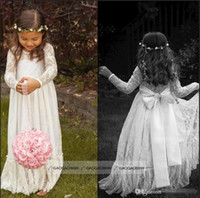 girl first communion dress - 2015 Cheap Long Sleeve Lace Flower Girl Dresses Jewel White A line Floor Length Baby Formal Occasion Skirt First Communion Bridal Gowns Cute
