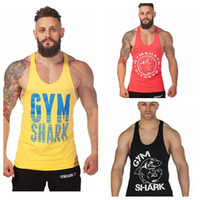 Wholesale New Arrival Gym Shark Stringer Tank Top Men Gymshark Bodybuilding and Fitness Men s Singlets GYM Tank Shirts Sports Tank Top