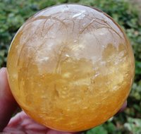 Wholesale 80MM Natural Citrine Calcite Quartz Crystal Sphere Ball Healing Gemstone Stand