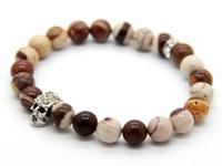 australian made gifts - 2015 New Design Summer Bracelets made by Australian Zebra Stone Beads Crystal Silver Skull Yoga Bracelet