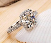 Wholesale Fashion Hot Show elegant temperament Jewelry Womens White Sapphire Silver Filled Wedding Ring