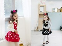 Cheap 2014 Autumn Children Girl's 2PC Sets Skirt Suit Minnie Mouse baby Clothing sets dots girls dress clothes Christmas Costume