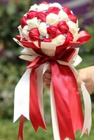 Wholesale 2014 Luxury Ribbon Flower Wedding Bouquet with Handmade Rose and Beaded Crystals Cheap Bride Holding Flower High Quality Cheap