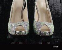 Wedding High Heel Open Toe Sexy Luxury Summer Peep Toe Wedding Shoes Sandals High Heel Slimmer Silver Crystal Bridal Evening Party Prom Sandals Lady Dancing Rhinestone