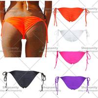 Wholesale w1028 Sexy Womens Brazilian Scrunch bikini bottom Swimwear Beachwear Semi Thong Bottoms