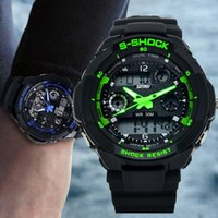 Sport led watches - S5Q Multi Function Military S Shock Sports Watch LED Analog Digital Waterproof Alarm AAACSR