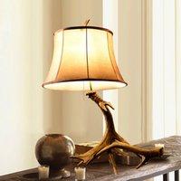 antler lamps - Odd ranks yield American country retro living room lamps study lamp An Teli resin antlers s