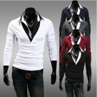 Wholesale 2016 colors M XXL New Fashion Casual Leather Patchwork Slim Fit Man Male Polo Shirts Long Sleeve Turn down Collar Tee Tops