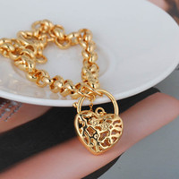 Wholesale Fashion Jewelry K Gold Plated Bracelet Hollow Love Heart Vintage Lock Drop Pendant Gift for Lady Girl Bracelets Charm Chain H14013