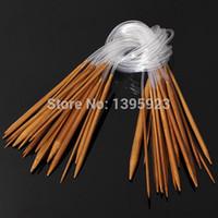 circular knitting needles - 18pcs Set Bamboo Carbonize Circular Knitting Needles Pins cm Size mm mm