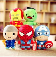 La felpa de los héroes estupendos de 100pcs Avengers2 juega el regalo de cumpleaños de los niños de la muñeca de la felpa del Hulk del hombre del hierro del capitán América del hombre araña del 10cm Thor Wolverine