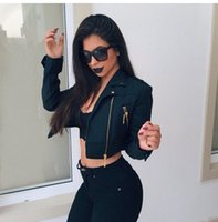 Wholesale New Jackets for women short style long sleeve black women Jackets bomber jacket