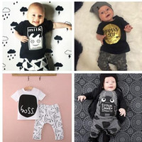Wholesale 2016 Fashion baby clothing baby short sleeve clothing sets Hot sale design baby sets Baby top pant suit for years baby many models