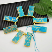 druzy jewelry - Druzy kt Gold Plated Edge Turquoise Color Emperor Jasper slice pendant jewelry making
