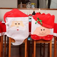 Wholesale Free DHL Santa Clause Christmas gift Chair Back Covers for Christmas Dinner Decor New Party Supply Favor Cloth Chairs Decorations
