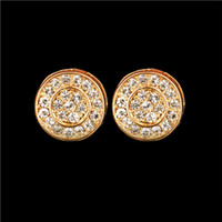 Wholesale Fashion Men earring Hip Hop Full Crystal Cool Double Round Stud bling crystal Earring Platinum Brand Earring
