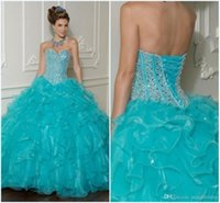 best one piece dress - Best Selling Sexy Blue Quinceanera Dresses Ball Gowns Crystal Sparking Floor Length Organza Formal Sweet Prom Dresses Quince Dresses