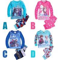 Boy Summer 2T-3T-4T-5T-6T-7T HOT 2014 New Baby Elsa Princess Pyjamas Girls Frozen Pajamas set Anna's Pijama Kids Clothing set Printed Sleepwears MOQ:120pcs