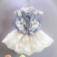 Cheap Girls Outfits Child Clothes Kids Clothing Girl Dress 2015 Summer Denim Shirt Fashion Flower Lace Skirts Children Set Kids Suit Outfits C7102